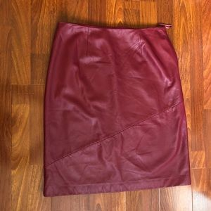 Loft  Red Leather pencil skirt